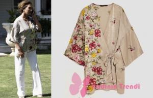Siyah İnci Kıyafetleri Vural'ın Annesi Canan çiçek desenli kimonu Zara marka. Canan beyaz pantolon Mango marka.