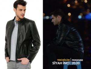 Siyah İnci kıyafetleri 5. bölüm Kenan siyah deri ceket markası Derimod