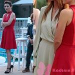 Ufak Tefek Cinayetler Arzu Kıyafetleri Arzu şerit yaka kırmızı elbise markası Doridorca Arzu Siyah ayakkabı
