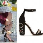 Merve topukları desenli siyah ayakkabı markası Aldo Shoes markadır.