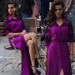 Şevkat Yerimdar' ın 21. Bölümde Basak Parlak 'ın son sahnede giydiği eflatun elbisenin markası Drape Butik.