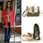 Dolunay 20. bölümde Fatoş'un kırmızı ceketle kullandığı haki omuz çantasının markası Pinky Lola Design.