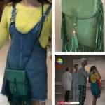 Kalp Atışı Esma yeşil püsküllü çanta Pinky Lola Design marka.