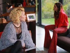 Beliz kırmızı desenli pantolon ve kırmızı sweatshirt Derin püsküllü hırka