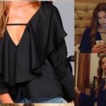 Fazilet Hanım ve Kızları Kıyafetleri 23. Bölüm Ecenin giydiği siyah bluzun markası Yasemin Pekkan