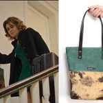 Fazilet Hanım ve Kızları dizi kıyafetleri 22. Bölüm Faziletin yeşil ve kahve rengi kol çantası Pinky Lola Desiğn marka