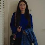 Hazan saks mavisi kazak Hazan kulpu enkli çanta Hazan mavi kaban