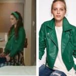 Kalp Atışı dizisinde Burcu karakterinin giydiği yeşil deri ceket markası Koton