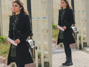 Meryem 14. bölüm Meryem siyah kaban Meryem siyah desenli elbise Meryem siyah bot İlvi. Meryem siyah çanta