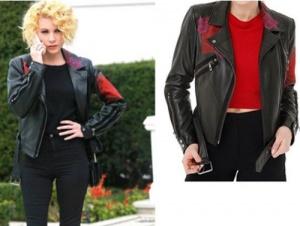 Meryem dizisi Derin Kıyafetleri Derin kombini Kırmızı pembe işlemeli deri ceket markası Derimod