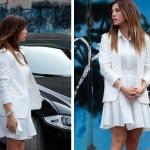 Ufak Tefek Cinayetler Gökçe Bahadır Oya Kıyafetleri oya beyaz ceket oya beyaz elbise