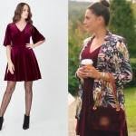 Ufak Tefek Cinayetler Merve'nin geçen bölüm giydiği kadife V yakalı elbisenin markası Journey.