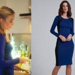 Ufak Tefek Cinayetler Pelin Bade İşçil yanları siyah şeritli mavi elbise markası ADL tasarımı Cengiz Abazoğlu