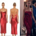 Fi Çi 4. Bölümde Duru'nun Afife lansmanında giydiği kırmızı saten elbisenin markası Bec and Bridge kırmızı saten elbisenin fiyatı 1275 TL.