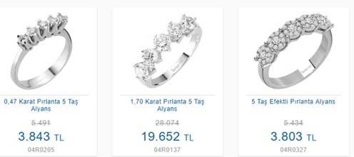 Sirus Pırlanta 5 taş yüzük modelleri ve fiyatları