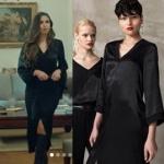İstanbullu Gelin İpekin giydiği siyah önden yırtmaçlı elbisesi Just Like You marka