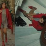 Babamın Günahları Deniz Kızı Zümrüt kırmızı ayakkabı kırmızı kaşe gri elbise siyah çanta kombini markaları araştırılıyor