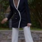 Dolunay Kıyafetleri Final Demet beyaz pantolon Pınar Tekgöz