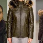 Fazilet Hanım ve Kızları dizisinde Hazanın giydiiği kapşonlu yeşil deri montun markası Derimod