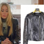Ufak Tefek Cinayetler Pelin'in giydiği işlemeli siyah deri ceket markası Kemal Tanca