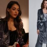 Çukur Kıyafetleri 12. Bölüm Sena kuş işlemeli gri kadife sabahlı tarzı ceket markası ADL fiyatı 80 TL