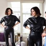 İstanbullu Gelin Burcu'nun annesi Siren siyah deri pantolon ve siyah deri bluz markası Esra Gürses.