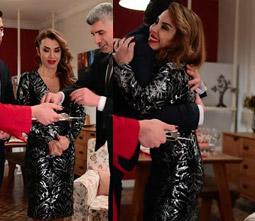 İstanbullu Gelin Senem siyah gri desenli parlak elbise