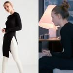 Fi Çi 8. bölümde Duru'nun giydiği yandan yırtmaçlı siyah triko tunik markası Rue