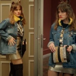 Jet Sosyete Yıldız karakterinin 1. bölümde giydiği sarı tüy yakalı kot ceket, metalik etek ve tişört markası araştırılıyor