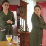 Ufak Tefek Cinayetler Mervenin giydiği önden çift düğmeli yeşil haki elbisenin markası Perspective