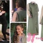 Ufak Tefek Cinayetler Kıyafetleri 18. Bölüm Burcu'nun giydiği haki yeşil uzun ceketin markası Ece Derya